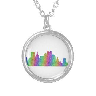 Colar Banhado A Prata Skyline de Pittsburgh
