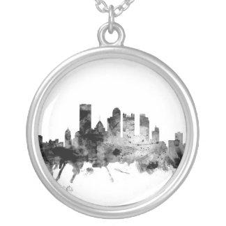 Colar Banhado A Prata Skyline de Pittsburgh Pensilvânia