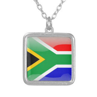 Colar Banhado A Prata Sul - bandeira lustrosa africana