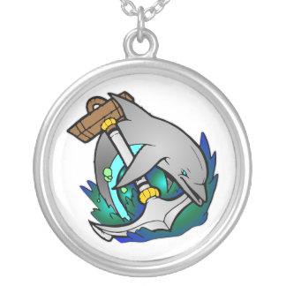 Colar Banhado A Prata Tatuagem do golfinho & da âncora