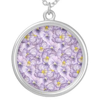 Colar Banhado A Prata Teste padrão floral da aguarela com pansies