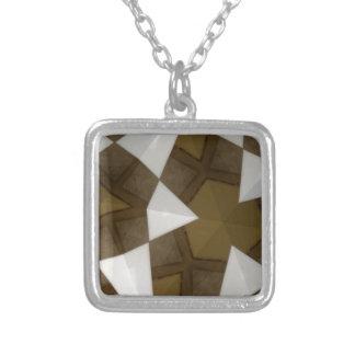 Colar Banhado A Prata Teste padrão geométrico do tom de Brown