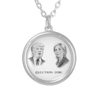 Colar Banhado A Prata Trunfo e retratos do lápis de Hillary, eleição