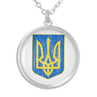 Colar Banhado A Prata Ucrânia pouca brasão