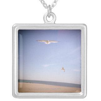 Colar Banhado A Prata uma imagem sonhadora das gaivotas que voam na