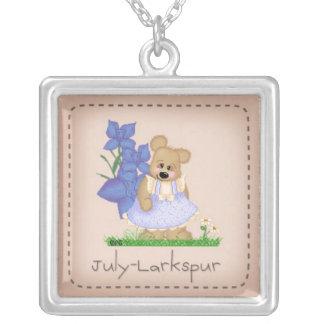 Colar Banhado A Prata Urso julho Larkspur Birthflower de Pettibone