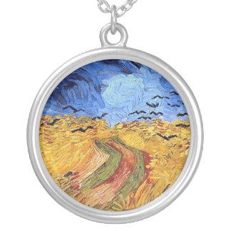 Colar Banhado A Prata Vincent van Gogh - campo de trigo com corvos