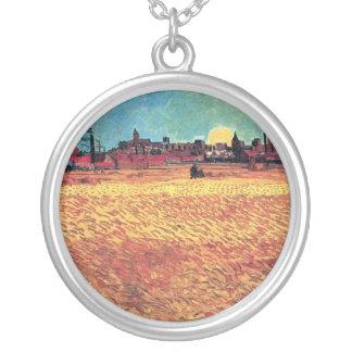 Colar Banhado A Prata Vincent van Gogh - por do sol em belas artes dos