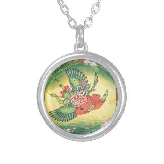 Colar Banhado A Prata Vishnu e Lakshmi que montam Garuda, o excelente