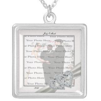Colar branca da prata do quadrado do casamento dos