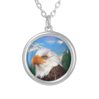 Colar chapeada da prata esterlina da águia