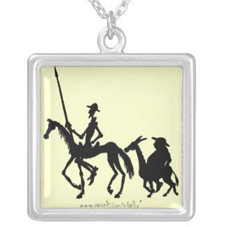 Colar da arte gráfica de Don Quixote e de Sancho P