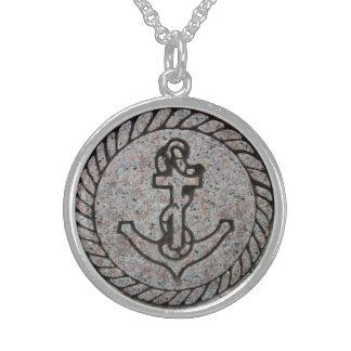 Colar da prata esterlina da âncora do barco das