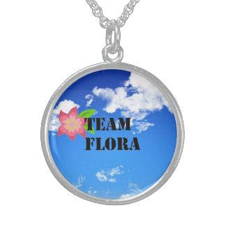 Colar da prata esterlina da flora da equipe