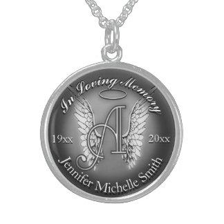 Colar De Prata Esterlina A para o memorial do monograma do anjo