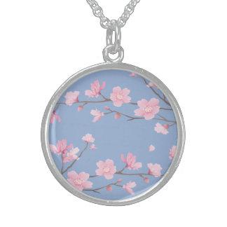 Colar De Prata Esterlina Flor de cerejeira - azul da serenidade