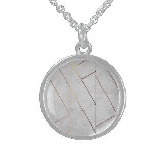 Colar De Prata Esterlina Ouro de mármore cinzento de Peronalized geométrico