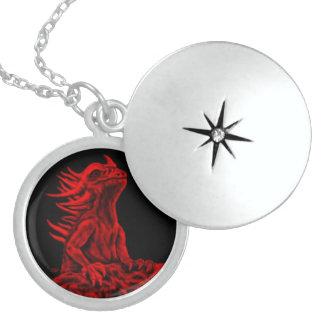 Colar De Prata Esterlina Pouco dragão vermelho