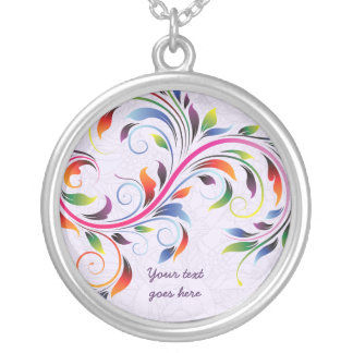 Colar de prata floral roxa da folha colorida do ro