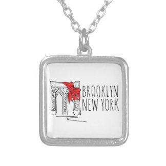 Colar Banhado A Prata Colar do Natal de New York NYC da ponte de