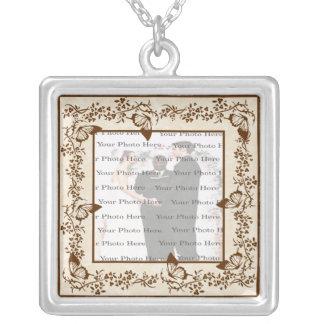 Colar elegante da prata do quadrado do casamento d