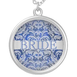 Colar elegante do casamento da noiva do damasco da