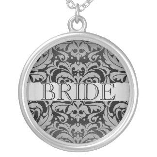 Colar elegante do casamento da noiva do damasco do
