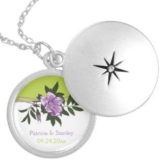 Colar Medalhão Lembrança floral do verde do casamento do rosa
