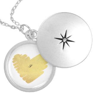 Colar Medalhão Teste padrão metálico dos corações do ouro