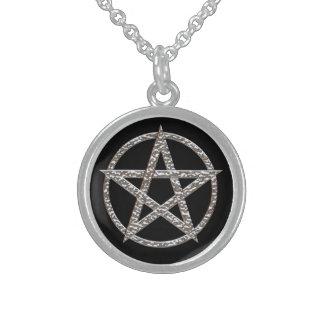 Colar redonda da prata esterlina do Pentagram