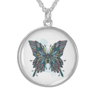 Colar tribal da prata esterlina da borboleta