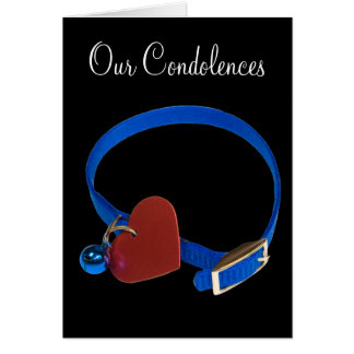 Colarinho azul, amor vermelho do gato do coração cartoes