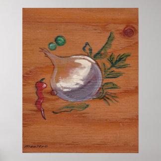 Coleção da decoração da cozinha - cebola & pimenta poster