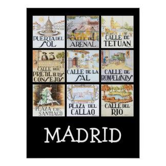 Coleção de sinais de rua de Madrid, espanha Póster