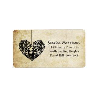 Coleção de suspensão do casamento vintage da etiqueta de endereço