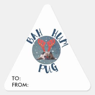 Coleção do Natal do Pug do zumbido de Bah Adesivo Triangular