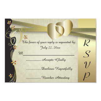 Coleção elegante do casamento do coração do ouro convite 8.89 x 12.7cm
