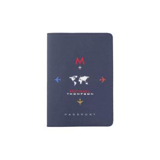 colora aviões com estilo conhecido & inicial, aero capa para passaporte