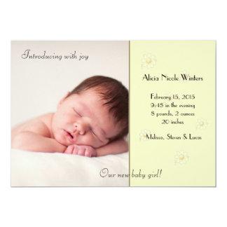 Colora-me anúncio macio do nascimento da foto convite 12.7 x 17.78cm