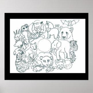 Colora-me design por animais Feralartist-Pstos em Pôster