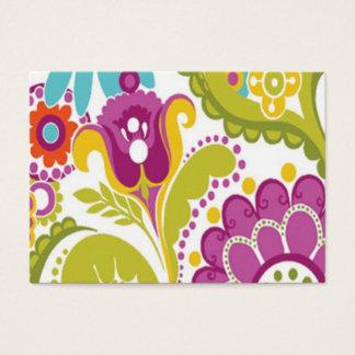 colorido floral do padrão cartão de visita grande