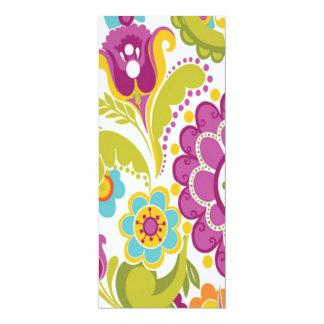 """colorido floral do padrão convite 10.16"""" x 23.49cm"""