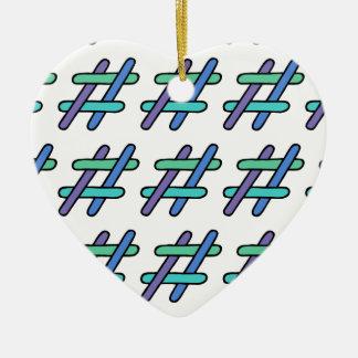 Colorido legal # roxo & branco do verde azul de ornamento de cerâmica coração