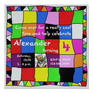 Colourful Birthday Invitation II Convite Quadrado 13.35 X 13.35cm