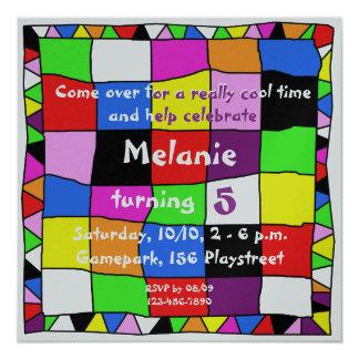 Colourful Happy Birthday Convite Quadrado 13.35 X 13.35cm