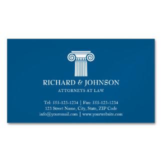 Coluna azul da empresa de advocacia do procurador cartão de visitas magnético