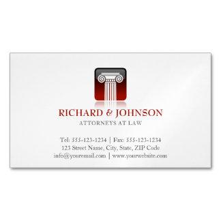 Coluna vermelha da empresa de advocacia do cartão de visitas magnético