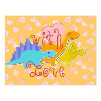 Com o cartão dos dinossauros dos queridos do amor