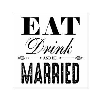 Coma a bebida e seja casamento casado carimbo auto entintado