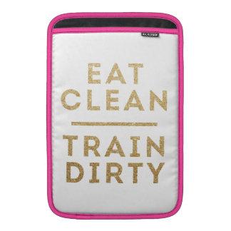 Coma a caixa suja do logotipo do brilho do ouro do bolsas para MacBook air